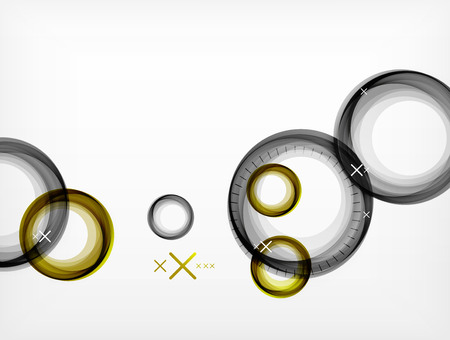 Circular geometric color air bubbles, web banner template, business or technology presentation or elements with white crosses on white background. Illustration