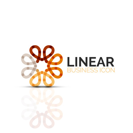 Abstract flower or star, linear thin line icon. Minimalistic business geometric shape symbol created with line segments