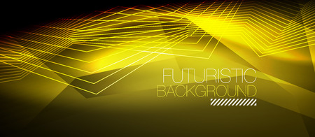 Straight yellow neon lines. Ilustrace