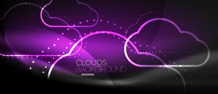Cloud vector computing, storage concept. Vettoriali
