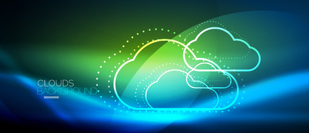 Cloud computing, storage concept vector.