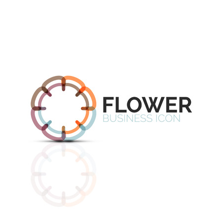 Abstract flower or star minimalistic linear icon, thin line geometric flat symbol for business icon design, abstract button or emblem Vector Illustration