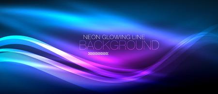 Neon blu elegante liscio onda linee sfondo astratto digitale