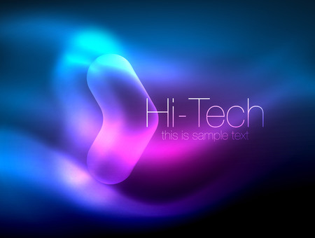 Blurred arrows in dark space. Neon pointers, glass glossy design, abstract shiny techno background, web banner 일러스트