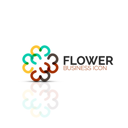 Abstract flower or star minimalistic linear icon, thin line geometric flat symbol for business icon design, abstract button or emblem  イラスト・ベクター素材