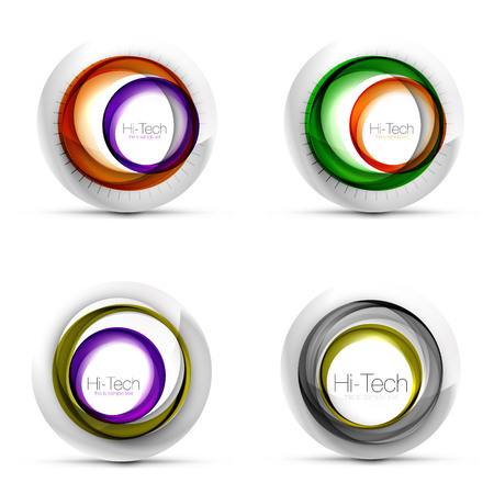 Set of digital techno spheres - web banners, buttons or icons with text. Glossy swirl color abstract circle design, hi-tech futuristic symbols with color rings and grey metallic element