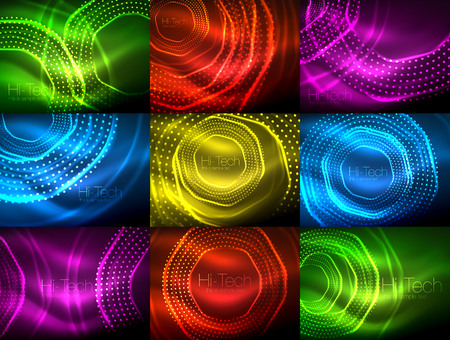 Set of magic neon shape abstract background, shiny light effect template for web banner, business or technology presentation background or elements.