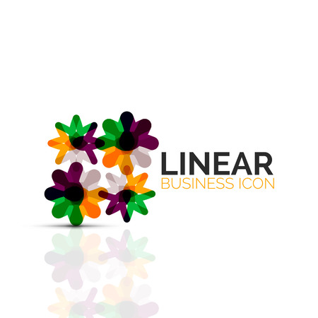 Abstract flower or star, linear thin line icon. Minimalistic business geometric shape symbol created with line segments.
