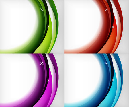 Set of glossy glass waves, vector abstract backgrounds, shiny light effects templates for web banner, business or technology presentation background or elements.
