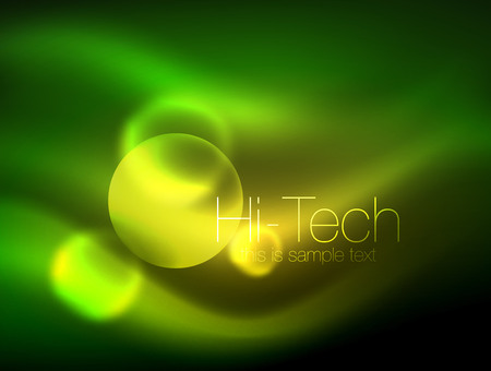 Blurred neon glowing circle, hi-tech modern bubble template, techno glowing glass round shapes or spheres. Geometric abstract background.