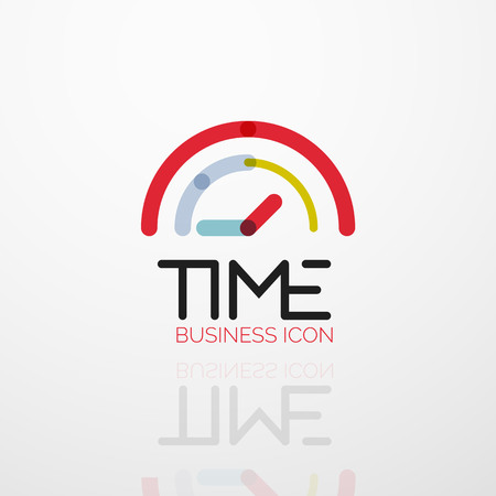 Vector abstract logo idea, time concept or clock business icon Vectores