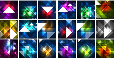Mega collection of neon triangle techno digital backgrounds, vector magic energy illustrations