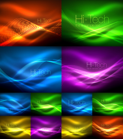 Set of neon wave backgrounds with light effects, curvy lines with glittering and shiny dots, glowing colors in darkness, vector magic illustrations