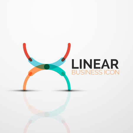 Outline minimal abstract geometric linear business icon made of round color line segments, elements.