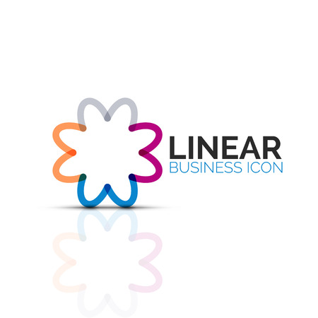 Abstract flower or star, linear thin line icon. Minimalistic business geometric shape symbol created with line segments. Vector illustration