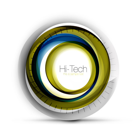 Digital techno sphere web banner, button or icon with text. Glossy swirl color abstract circle design, hi-tech futuristic symbol with color rings and grey metallic element. Vector illustration Illustration