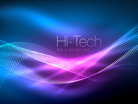 Neon smoke waves, vector flowing motion background Illustration