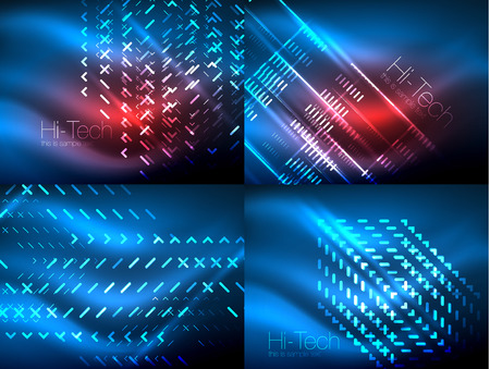 Set of glowing neon lines and shapes on dark, shiny motion, magic space light. Vector techno abstract backgrounds. Banner advertising layouts - colorful templates and wallpapers