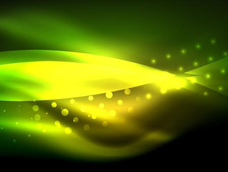 Neon golf achtergrond met lichteffecten, ronde lijnen met glinsterende en glanzende stippen, gloeiende kleuren in het donker, magische energie Stockfoto - 97359371