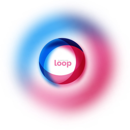 Loop circle business icon, created with glass transparent color shapes Vector illustration.