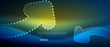 Neon techno arrow, digital abstract background Vectores