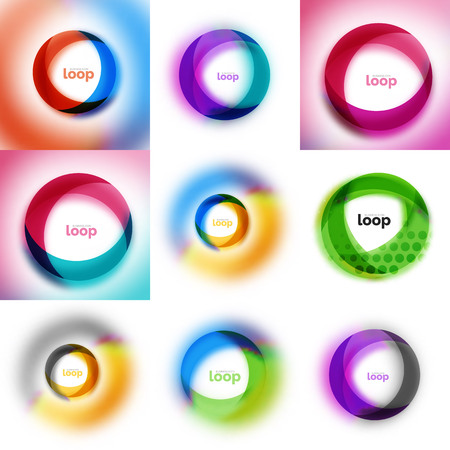 Set of loop, infinity business icons, abstract concept created with transparent shapes and blurred effects.