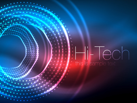 Magic neon circle shape abstract background, shiny light effect template for web banner, business or technology presentation background or elements, vector illustration 向量圖像