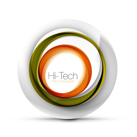 Digital techno sphere web banner, button or icon with text. Glossy swirl color abstract circle design, hi-tech futuristic symbol with color rings and gray metallic element