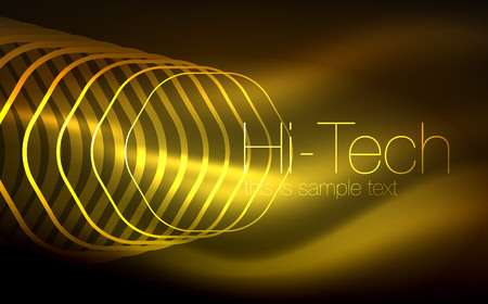 Outline hexagons, glowing geometric shapes, digital techno abstract background Vectores