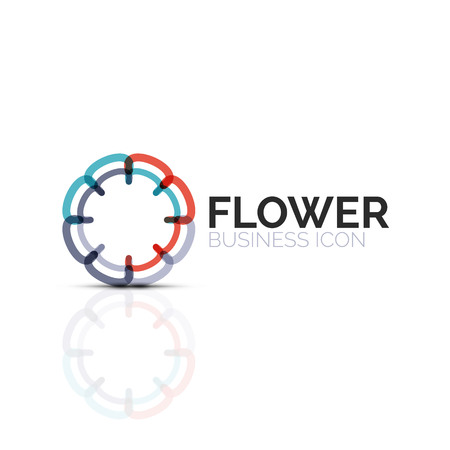 Abstract flower or star minimalistic linear icon, thin line geometric flat symbol for business icon design, abstract button or emblem 向量圖像