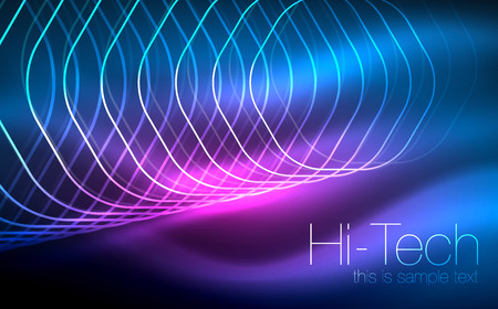 Outline hexagons, glowing geometric shapes, digital techno abstract background Illustration