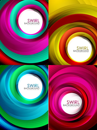 Set of spiral background vector, geometric swirl abstract templates with white copy space. Motion energy concept