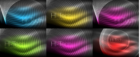Set of neon circular outline rings backgrounds Illustration