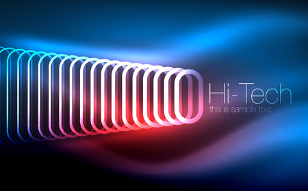 Glowing ellipses dark background, waves and swirl, neon light effect, shiny vector magic effects Иллюстрация