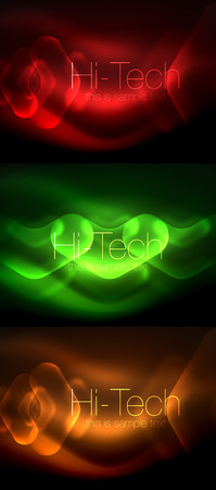Set of abstract backgrounds. Blurred arrows in dark space. Neon pointers, glass glossy design, abstract techno background, web banner Illustration