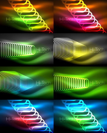 Set of glowing ellipses dark background, waves and swirl, neon light effect, shiny vector magic effects. Illustration