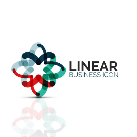 Abstract flower or star, linear thin line icon. A Minimalist business geometric shape symbol created with line segments Illustration