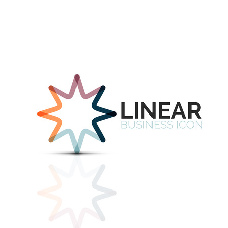 Abstract flower or star, linear thin line icon Minimalist business geometric shape symbol created with line segments