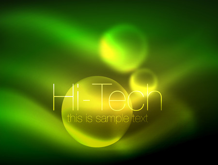 Blurred neon glowing circle with hi-tech modern bubble template Geometric abstract background Illustration