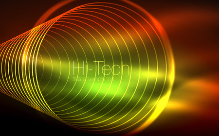 Circular glowing neon shapes in techno background. vector illustration Illustration