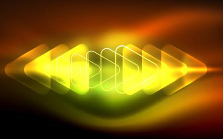 Glowing yellowish red with green triangular geometric shapes in dark space Ilustração
