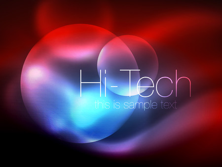 Blurred neon glowing circle, hi-tech modern bubble template, techno glowing glass round shapes or spheres. Geometric abstract background