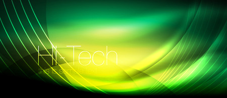 Glossy light effect neon glowing waves, shiny lights Vector illustration.