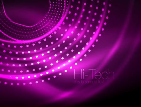 Magic neon circle shape abstract background, shiny light effect template for web banner, business or technology presentation background or elements, vector illustration. Vectores