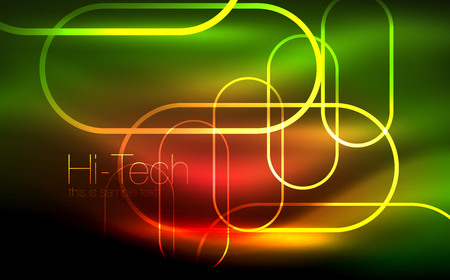 Glowing ellipses dark background, waves and swirl, neon light effect, shiny vector magic effects Illustration