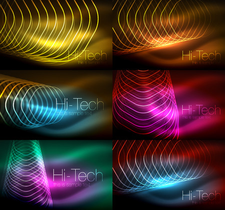 Collection of abstract backgrounds, glowing outline repeating hexagons.