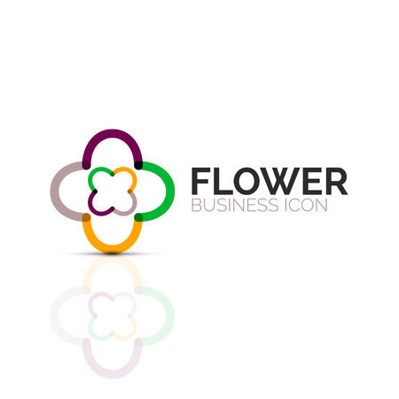 Abstract flower or star minimalistic linear icon, thin line geometric flat symbol for business icon design, abstract button or emblem. 向量圖像