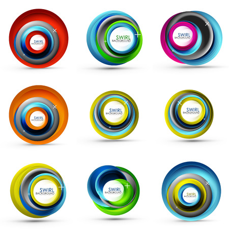 Spiral swirl flowing lines 3d vector abstract icon collection 일러스트