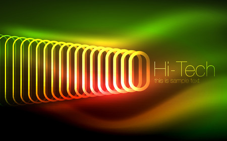 Glowing ellipses dark background, waves and swirl, neon light effect, shiny vector magic effects Hình minh hoạ