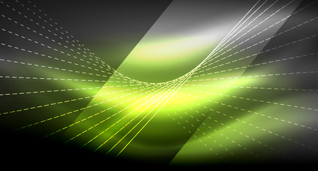Smooth light effect, straight lines on glowing shiny neon dark background. Energy technology idea.